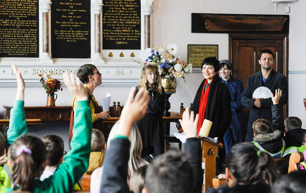 Marion Dissard Conrad Shawcross at the Sailors Church Ramsgate Harbour with Young arts and heritage leaders